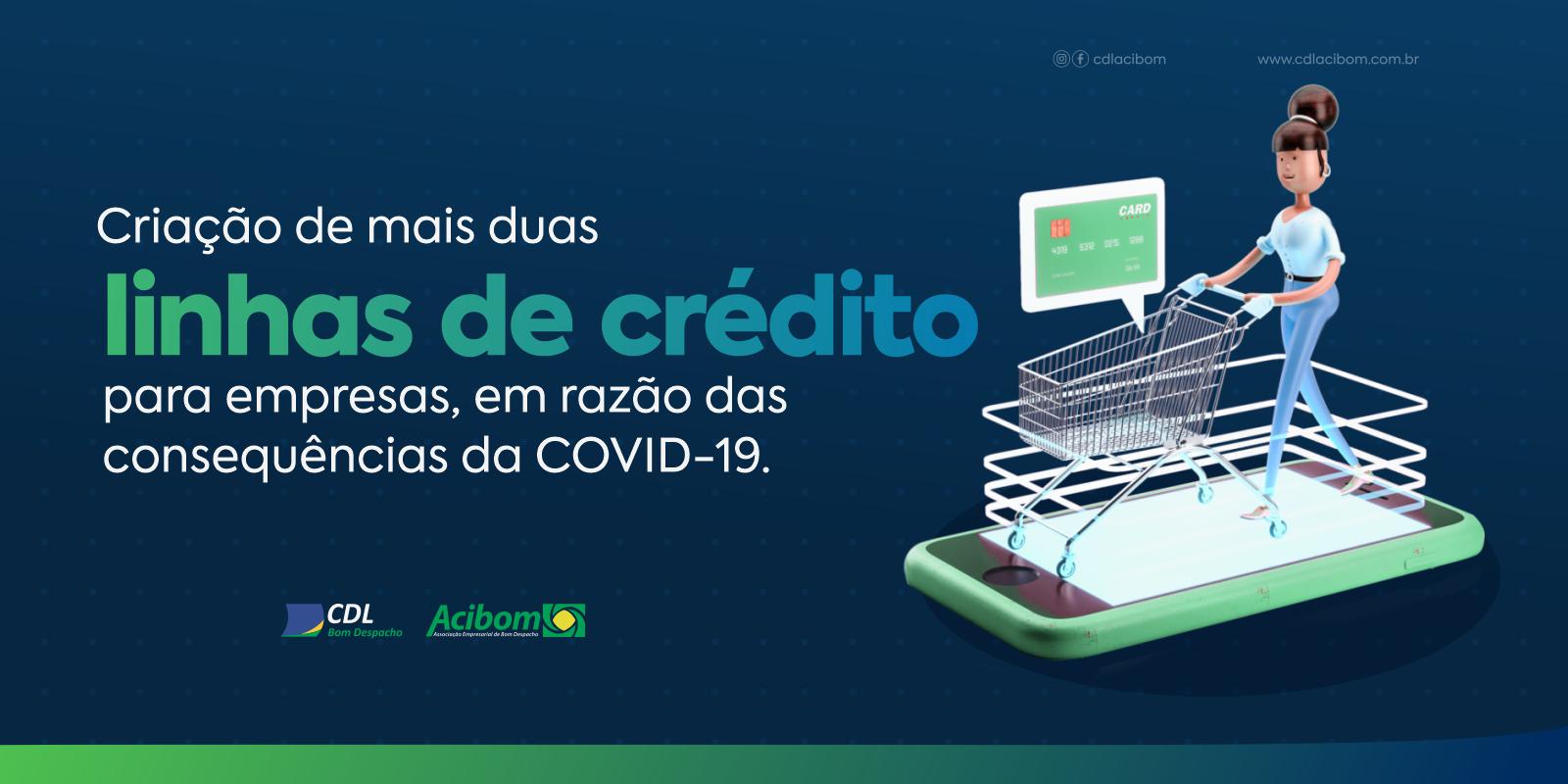 Criação de mais duas linhas de crédito para empresas, em razão das consequências da COVID-19.